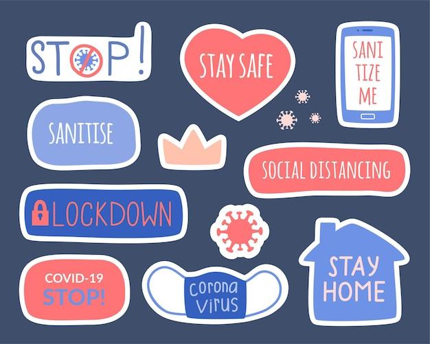Zbiór elementów na temat koronawirusa, higieny i kwarantanny. zestaw ręcznie rysowanych naklejek - zostań w domu, zachowaj dystans, dezynfekuj.