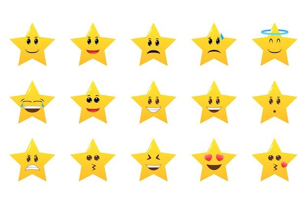 Zbiór emotikonów gwiazdy