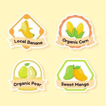 Zbiór etykiety owoce na żółtym tle