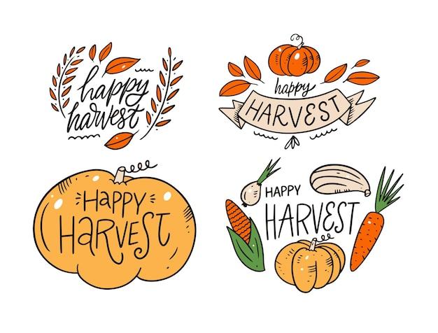 Zbiór frazy happy harvest nowoczesna kaligrafia