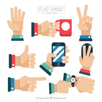 Zbiór gestów z rękami w płaskiej konstrukcji