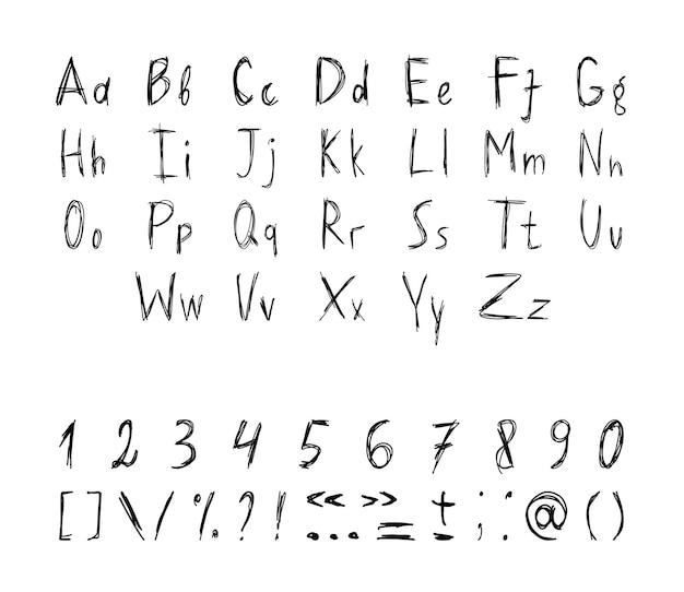 Zbiór grunge liter, cyfr i znaków interpunkcyjnych