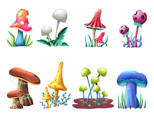 Zbiór grzybów magicznych fantasy na białym tle