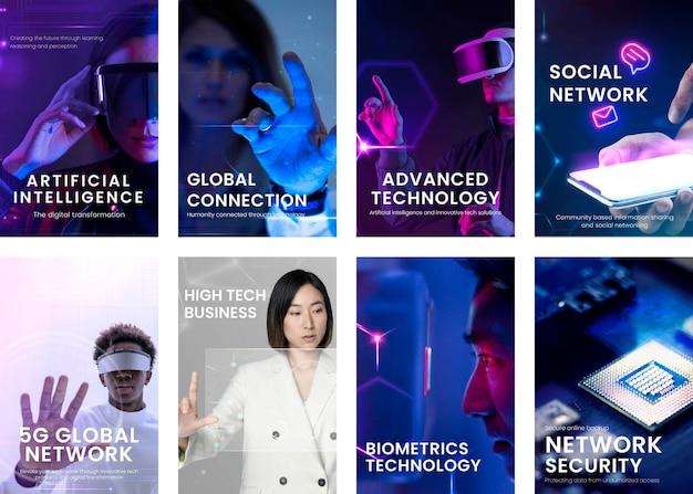 Zbiór historii na instagramie z koncepcją sztucznej inteligencji i technologii