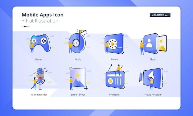 Zbiór ikon aplikacji mobilnych