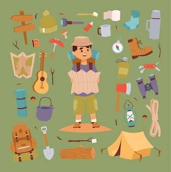 Zbiór ikon camping