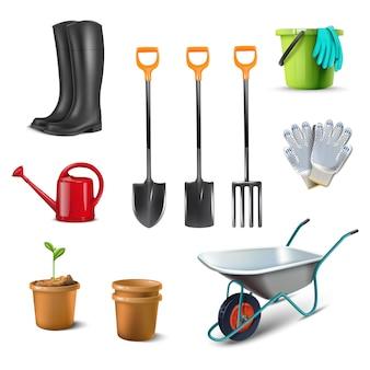 Zbiór ikon ilustracji przedstawiających przybory ogrodowe, taczki, kalosze, garnek, rękawice robotnicze, garnki.