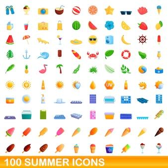 Zbiór ikon lato na białym tle
