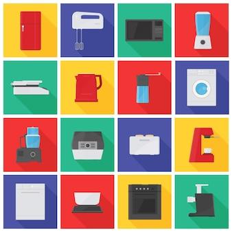 Zbiór ikon lub piktogramów z urządzeniami kuchennymi, sprzętem, narzędziami ręcznymi i elektrycznymi do przetwarzania żywności