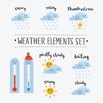 Zbiór ikon pogody kreskówki i śmieszne buźki