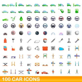 Zbiór ikon samochodów na białym tle