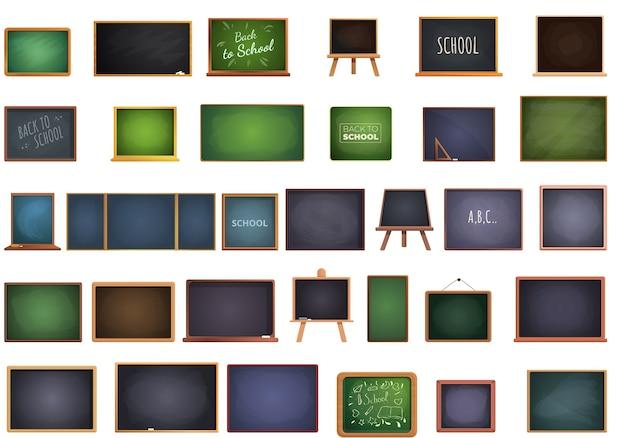 Zbiór ikon tablicy szkolnej na białym tle