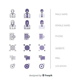 Zbiór ikon wizytówek