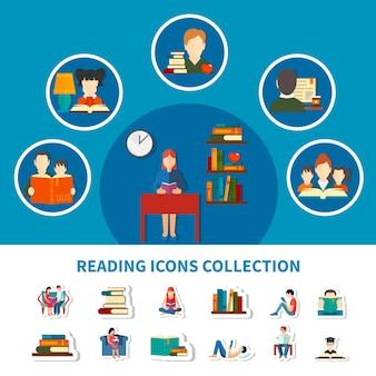 Zbiór ikon z dorosłymi i dziećmi podczas czytania książek elektronicznych i drukowanych na białym tle
