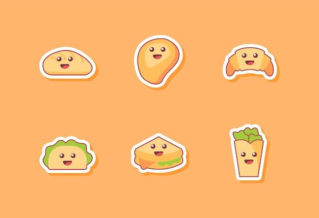 Zbiór ikony żywności na pomarańczowo