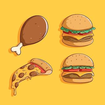 Zbiór ilustracji cute fast foodów
