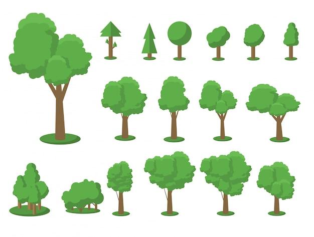 Zbiór ilustracji drzew. może służyć do zilustrowania dowolnego tematu dotyczącego natury lub zdrowego stylu życia.