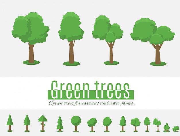 Zbiór ilustracji drzew.