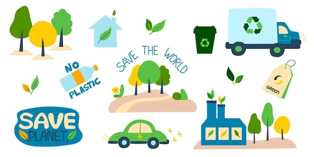Zbiór ilustracji ekologicznych z hasłami zero odpadów ekologia recyklingu odpadów