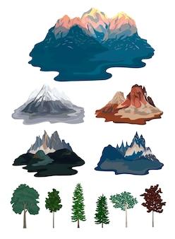 Zbiór ilustracji górskich i drzew