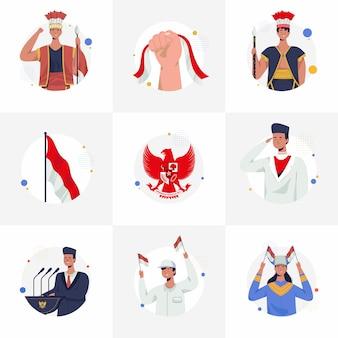 Zbiór ilustracji indonezyjski dzień niepodległości dla instafeed. proklamacja, pancasila, tradycyjne stroje indonezji i ceremonia narodowa. ilustracja wektorowa płaski.