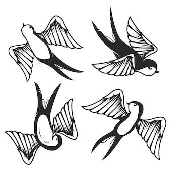 Zbiór ilustracji jaskółka wyciągnąć rękę na białym tle. elementy plakatu, karty. wizerunek