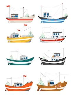 Zbiór ilustracji łodzi rybackich