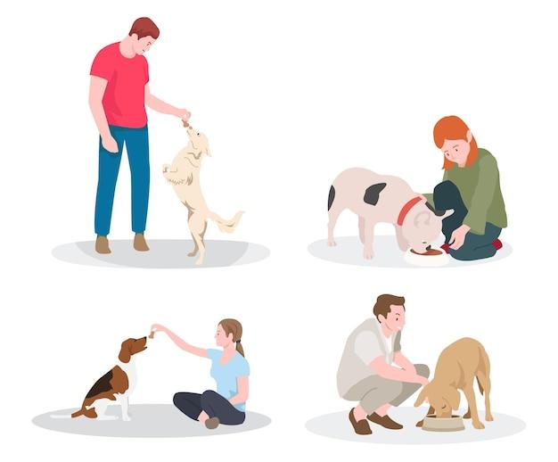 Zbiór ilustracji ludzi karmiących psy