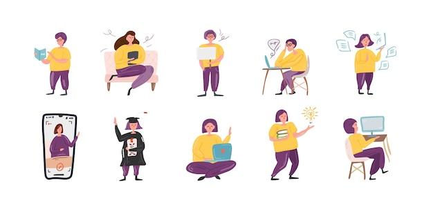 Zbiór ilustracji postaci ludzi wykonujących różne czynności w płaskiej konstrukcji