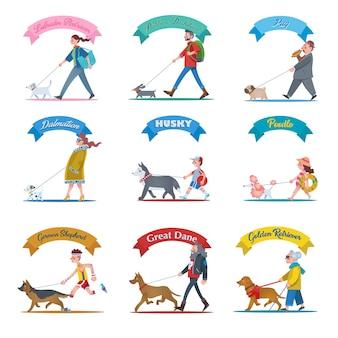 Zbiór ilustracji przedstawiających ludzi wyprowadzających różne typy psów