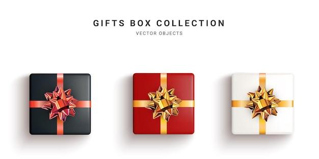 Zbiór ilustracji realistyczne pudełka na prezenty na białym tle