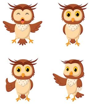 Zbiór ilustracji sowy