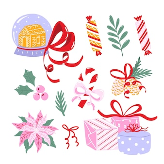 Zbiór ilustracji świątecznych. zestaw clipartów ferie zimowe na białym tle