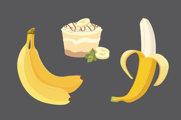 Zbiór ilustracji świeżych owoców banana