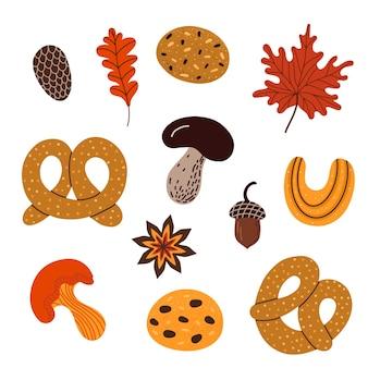 Zbiór ilustracji wektorowych różnych rodzajów tradycyjnego jesiennego słodkiego ciasta z elementami liści i grzybów na święto dziękczynienia na białym tle