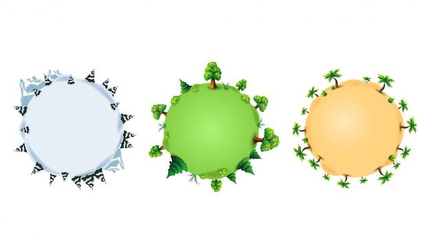 Zbiór ilustracji z planetami o różnych porach roku. planety z drzewami, sosnami, palmami i krzewami w stylu kreskówkowym.