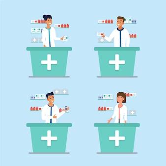 Zbiór ilustrowanych farmaceutów pracujących