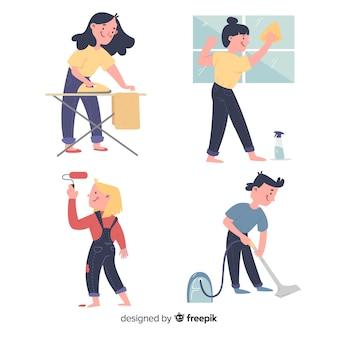 Zbiór ilustrowanych ludzi wykonujących prace domowe