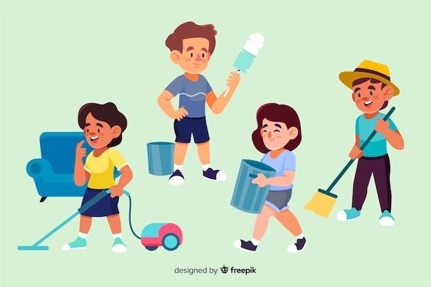 Zbiór ilustrowanych minimalistycznych postaci wykonujących prace domowe