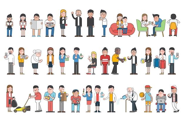 Zbiór ilustrowanych osób w różnych codziennych sytuacjach