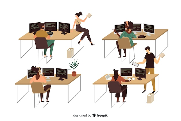 Zbiór ilustrowanych programistów pracujących