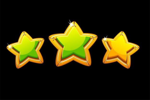 Zbiór izolowanych metalowych gwiazdek do oceny gry