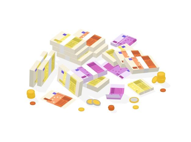 Zbiór izometrycznych pieniędzy fiducjarnych lub waluty europejskiej. zestaw rachunków lub banknotów euro w paczkach, rolkach i wiązkach oraz monety na białym tle.