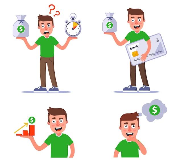 Zbiór jednej postaci z pieniędzmi. zestaw to dobra inwestycja pieniędzy. płaska ilustracja