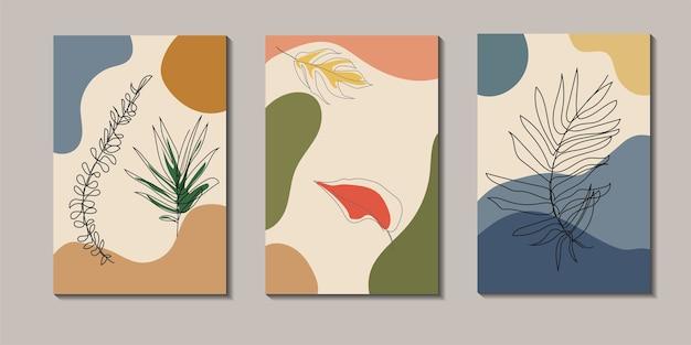 Zbiór jednej sztuki rysowania linii z tropikalnymi liśćmi