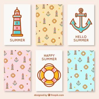 Zbiór kart śliczny żeglarz