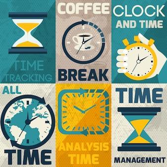 Zbiór kart z różnymi rodzajami zegarów