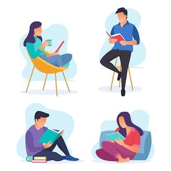 Zbiór kilku pozycji ludzi w czytaniu książek. nowoczesna ilustracja o doskonałej kolorystyce