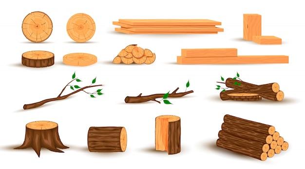 Zbiór kłód drewnianych, gałęzi drzew, tartaków,