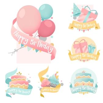 Zbiór kolorowy urodziny znaczek wektorów